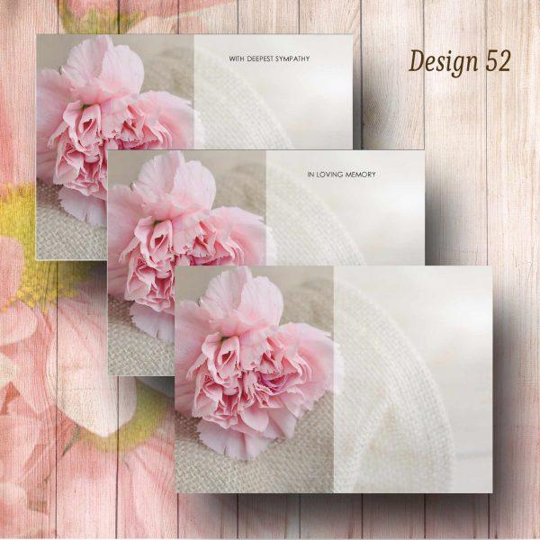 Pink Carnation Funerla Florist Message Card
