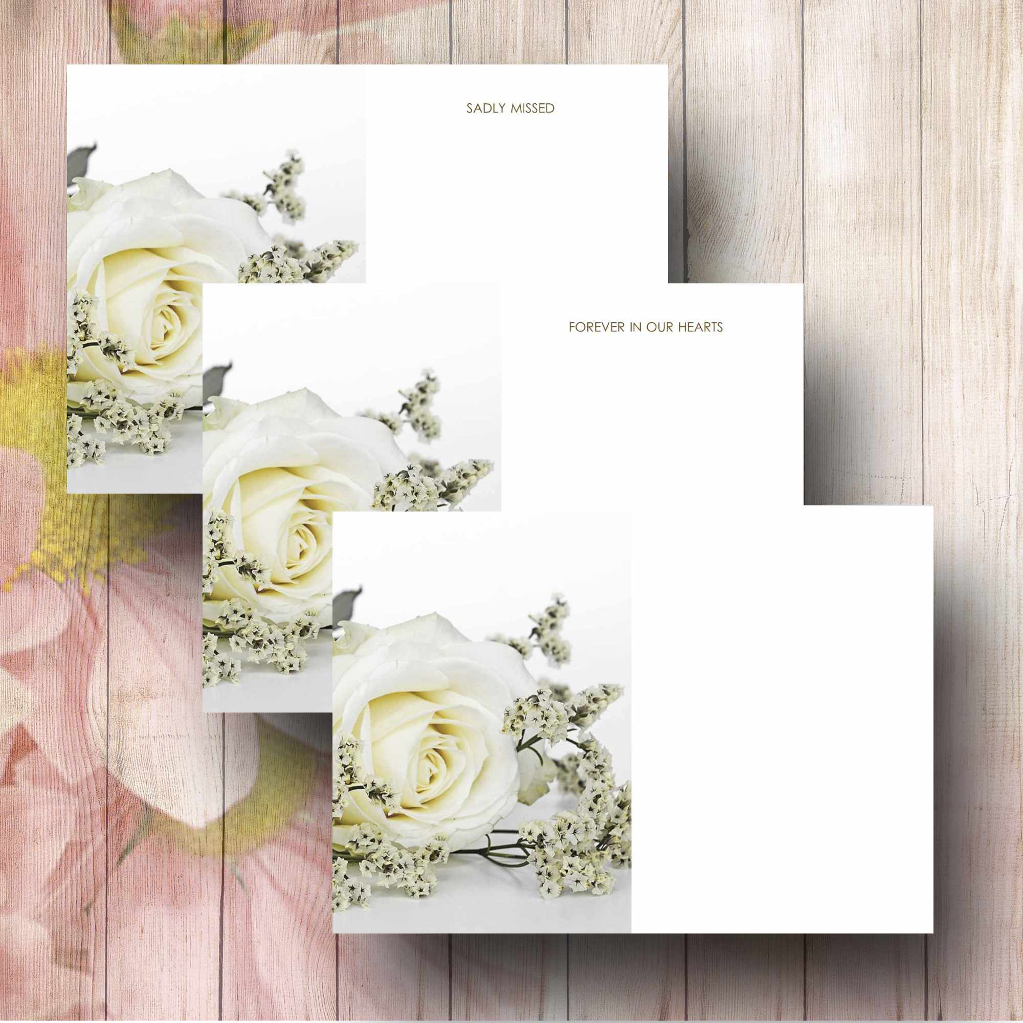 White Rose Florist Funeral Message Card