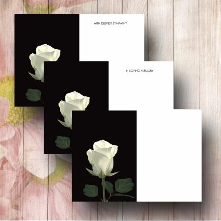 Single White Rose Florist Message Card