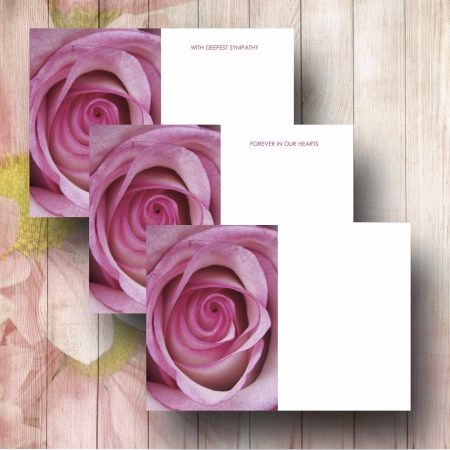 Pink Rose Funeral Florsit Message Card