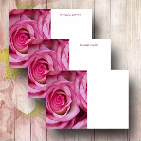 Pink Roses Funeral Florist Message Cards