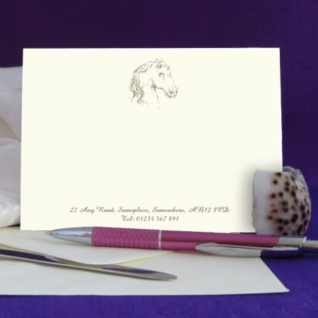 Personalised Correspondence Cards Horse Design 1 on Ivory Card.