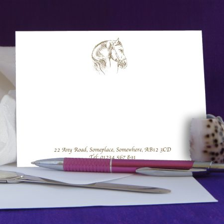 Personalised Correspondence Cards Horse Design 2 on White Card