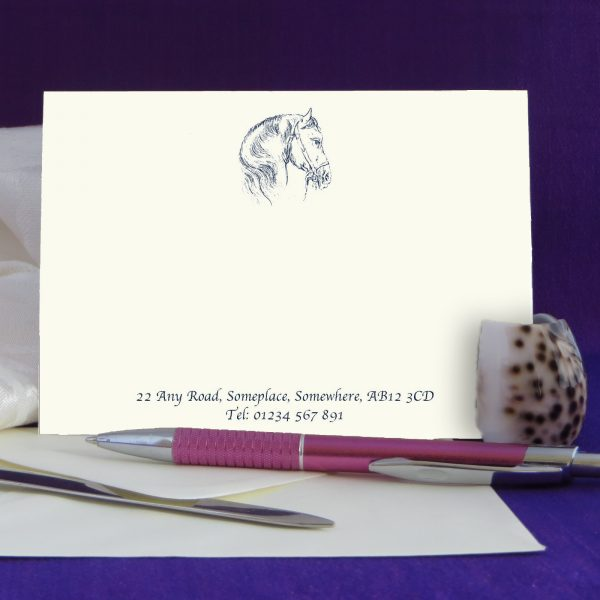 Personalised Correspondence Cards Horse Design 2 on Ivory Card. Available in Black, Burgundy, Brown and Green Print .