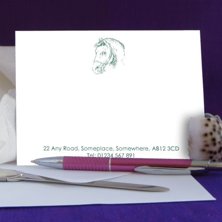Personalised Correspondence Cards Horse Design 4 on White Card.