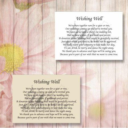 Church Wedding Gift Poem Cards