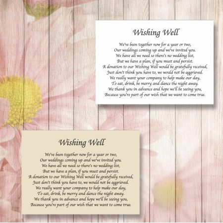 Plain Wedding Gift Poem Cards