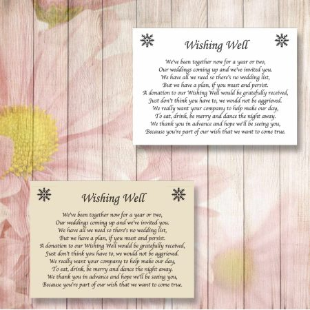 Snowflakes Wedding Gift Poem Cards