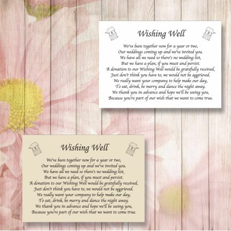 Wishing Wells Wedding Gift Poem Cards