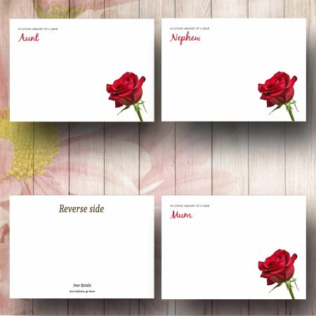 Single Red Rose Florist Message Card Example Texts