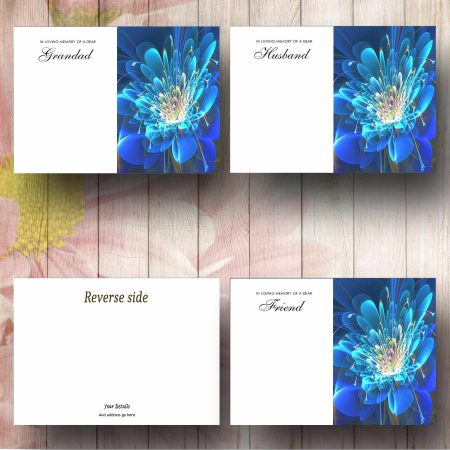 Stylised Blue Flower Florist Message Card Text Examples