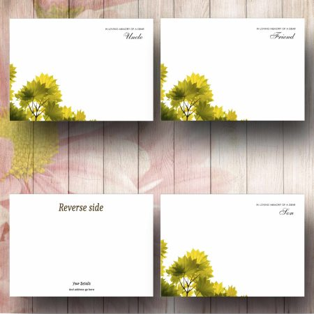 Simple Green Leaves Florist Message Card example Texts