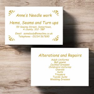Single Colour Business Card Thistle Design Double Sided