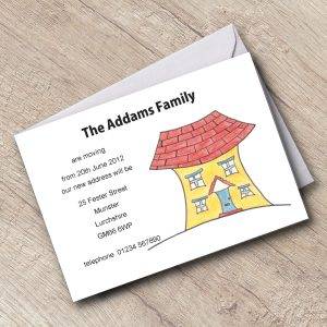 New Address Cards Personalised Are Moving Cartoon house